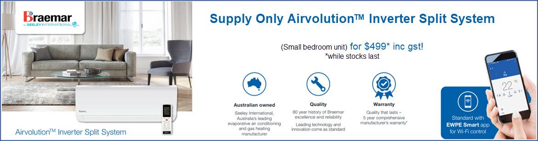 Air-Care Air Conditioning Braemar Airvolution Inverter Split System Sale Bedroom Unit Gold Coast